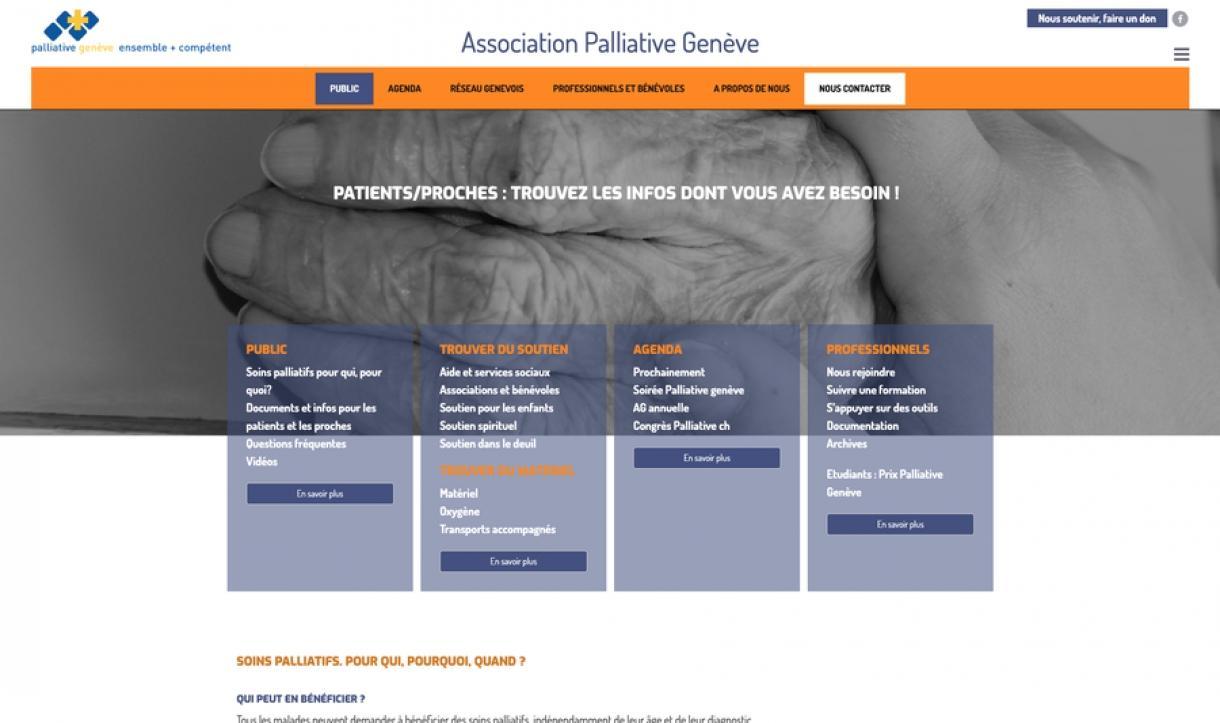 palliativegeneve : une création site internet Polygraphstudio
