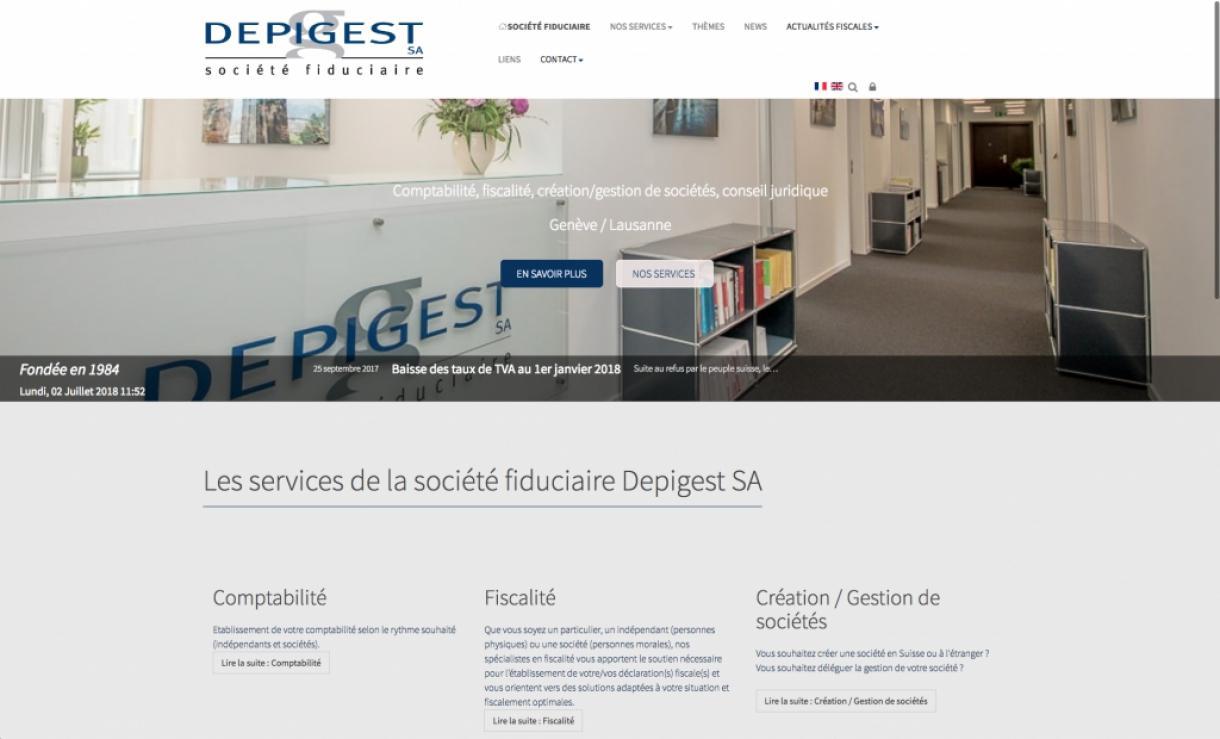 creation site vitrine pour la fiduciaire Depigest